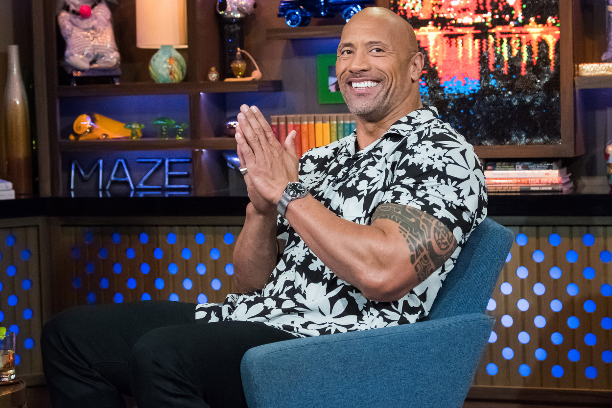 Actor and former college football player Dwayne 'The Rock' Johnson on Andy Cohen's talk show.