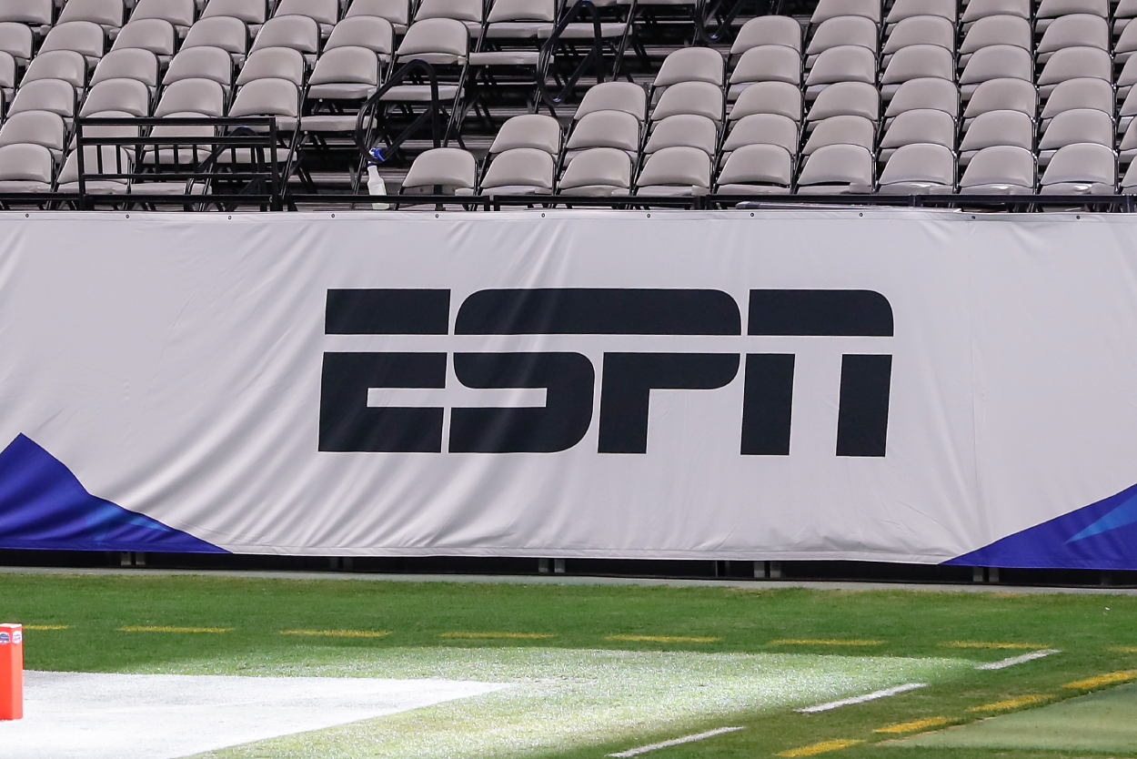 The ESPN logo before the 2021 Fiesta Bowl.