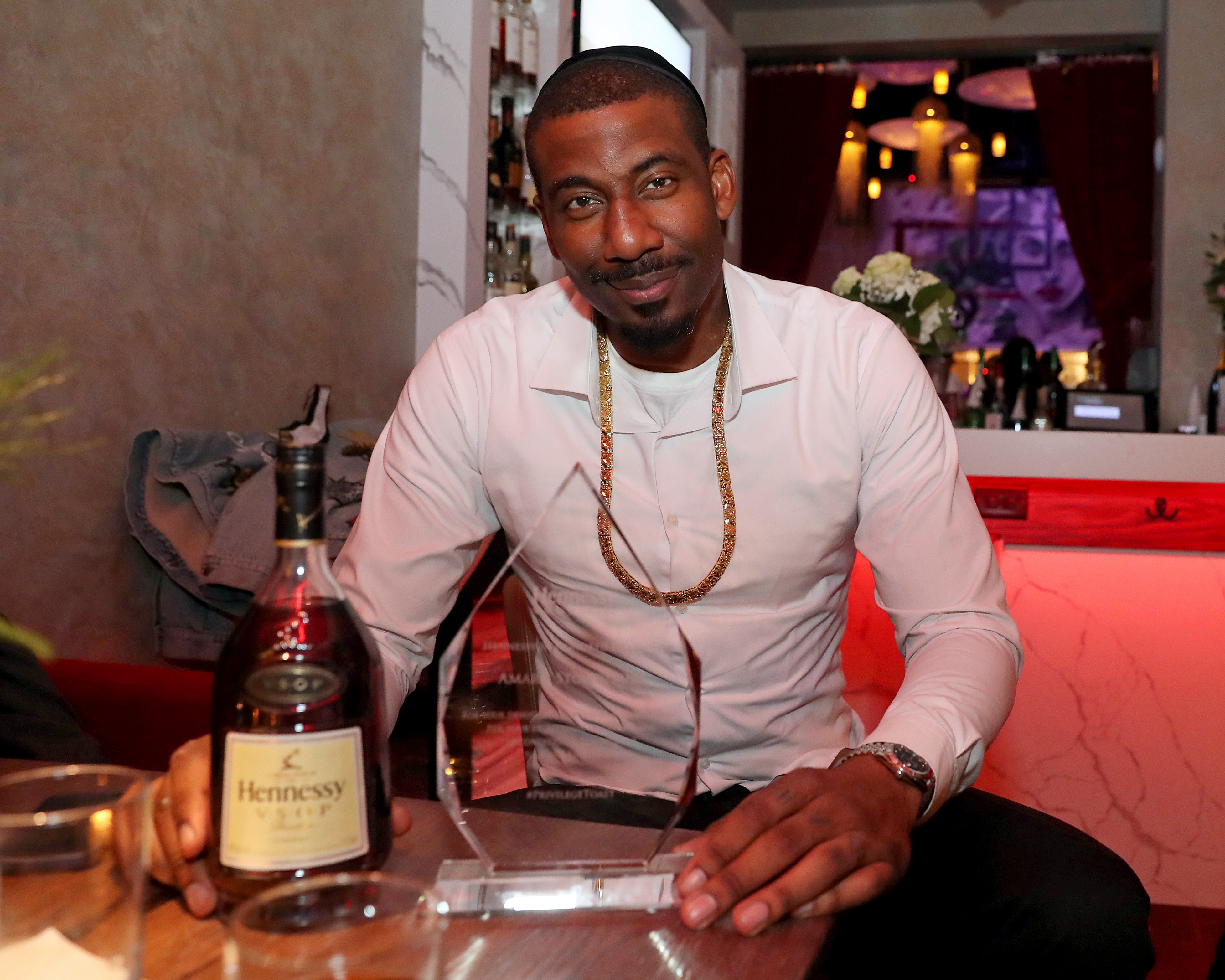 Amar'e Stoudemire poses during a Hennessy toast in 2021