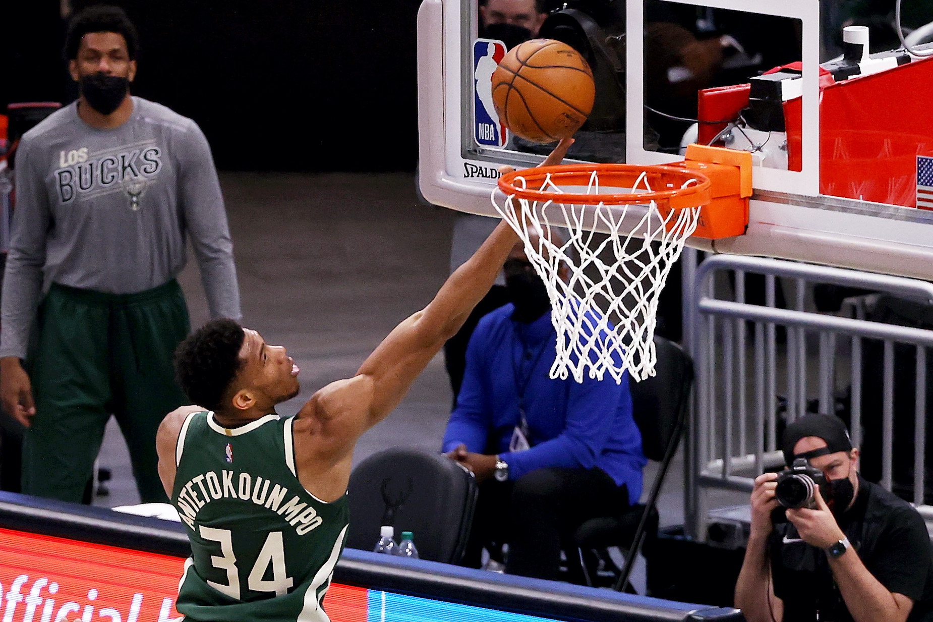 Giannis Antetokounmpo puts up a shot for the Milwaukee Bucks in NBA action