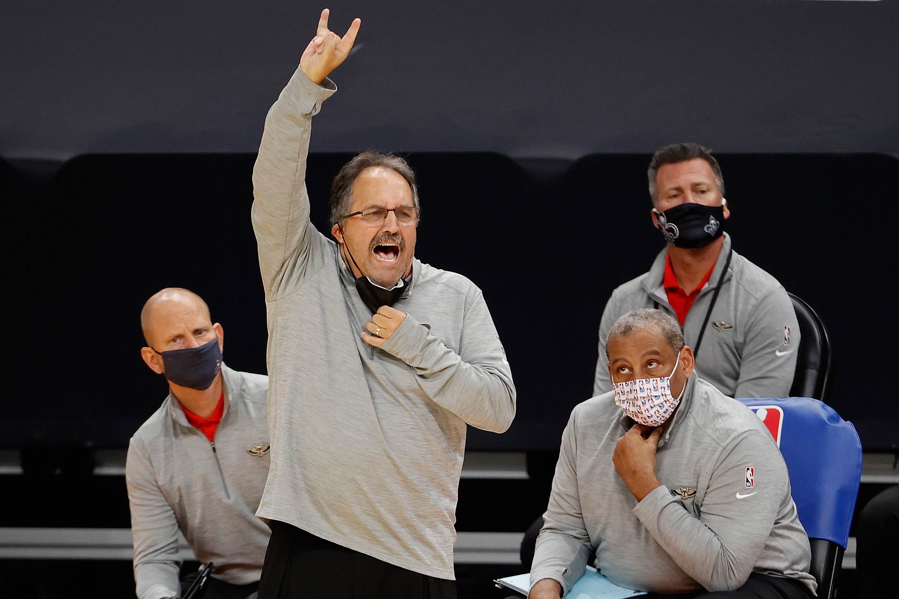 Head coach Stan Van Gundy of the New Orleans Pelicans reacts during an NBA game