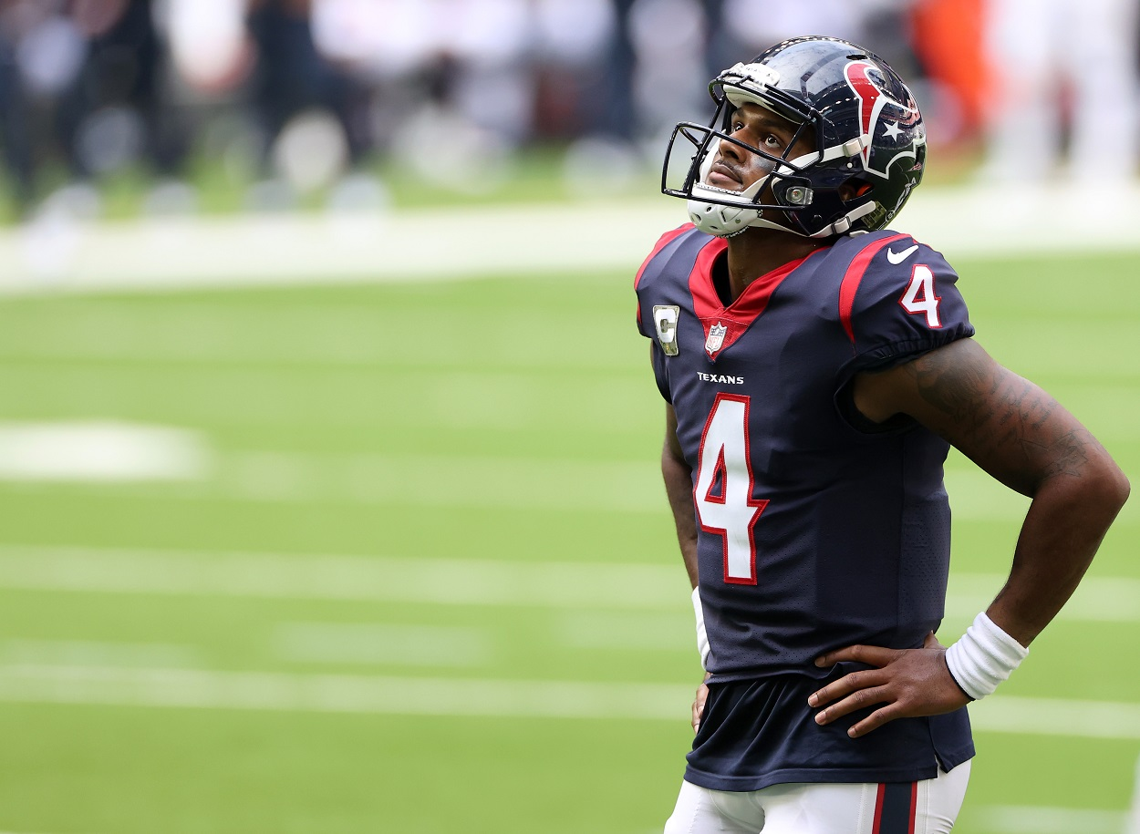 Houston Texans quarterback Deshaun Watson reacts to a play against the New England Patriots.