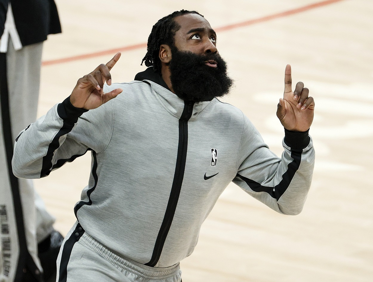 James Harden ahead of a Houston Rockets game in December 2020