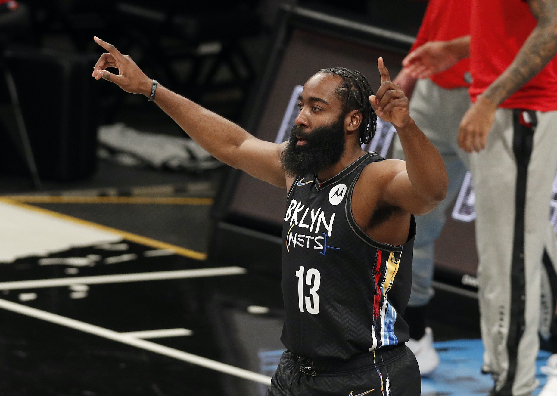 James Harden, who started the 2020-21 season with the Houston Rockets, in action as a member of the Brooklyn Nets.