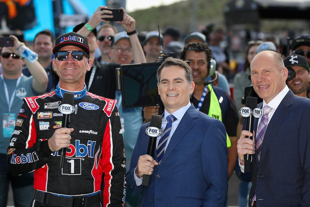 Jeff Gordon joined by Clint Bowyer before NASCAR race.