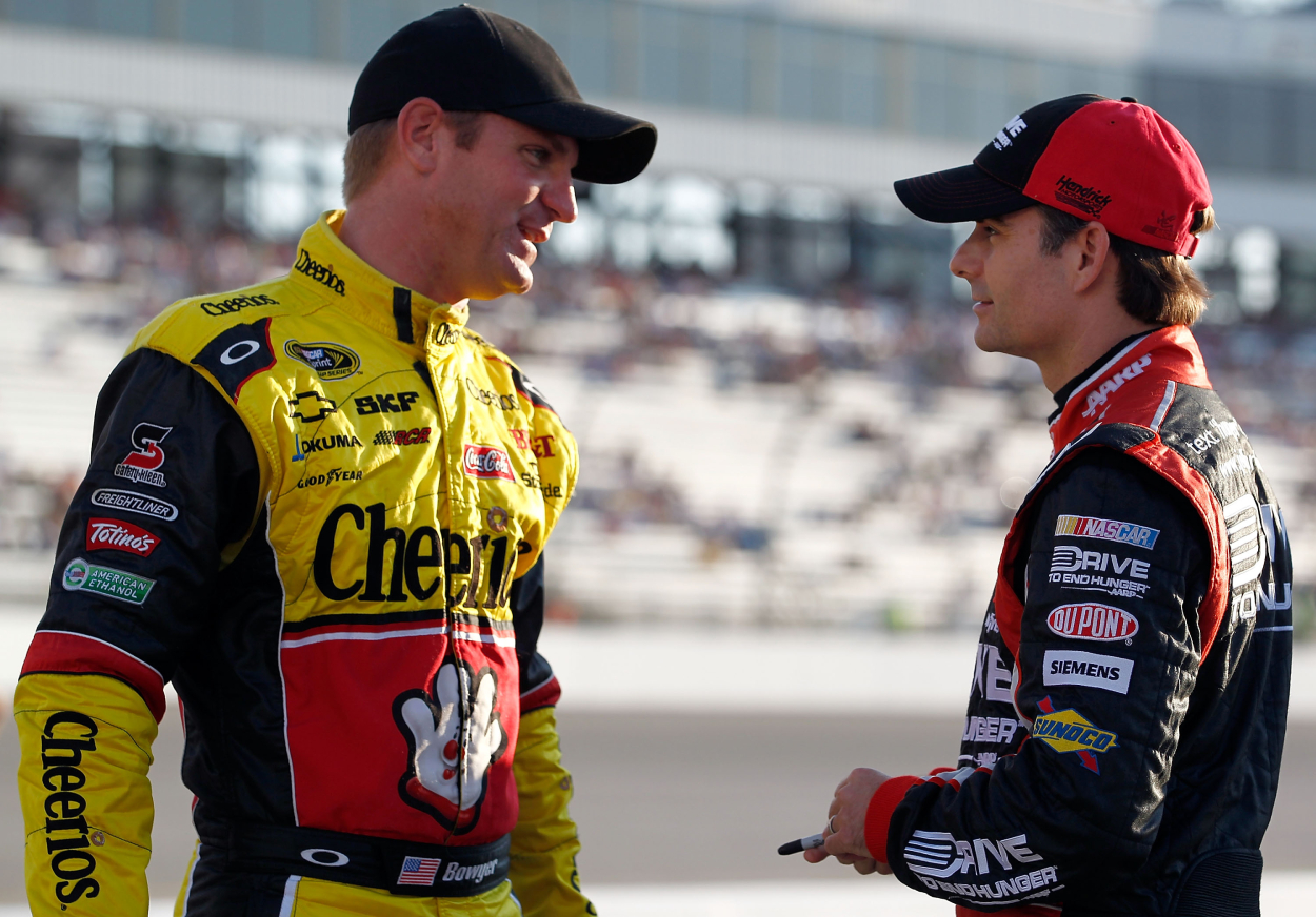 Former NASCAR drivers Clint Bowyer and Jeff Gordon during qualifying for the Wonderful Pistachios 400 in 2011.