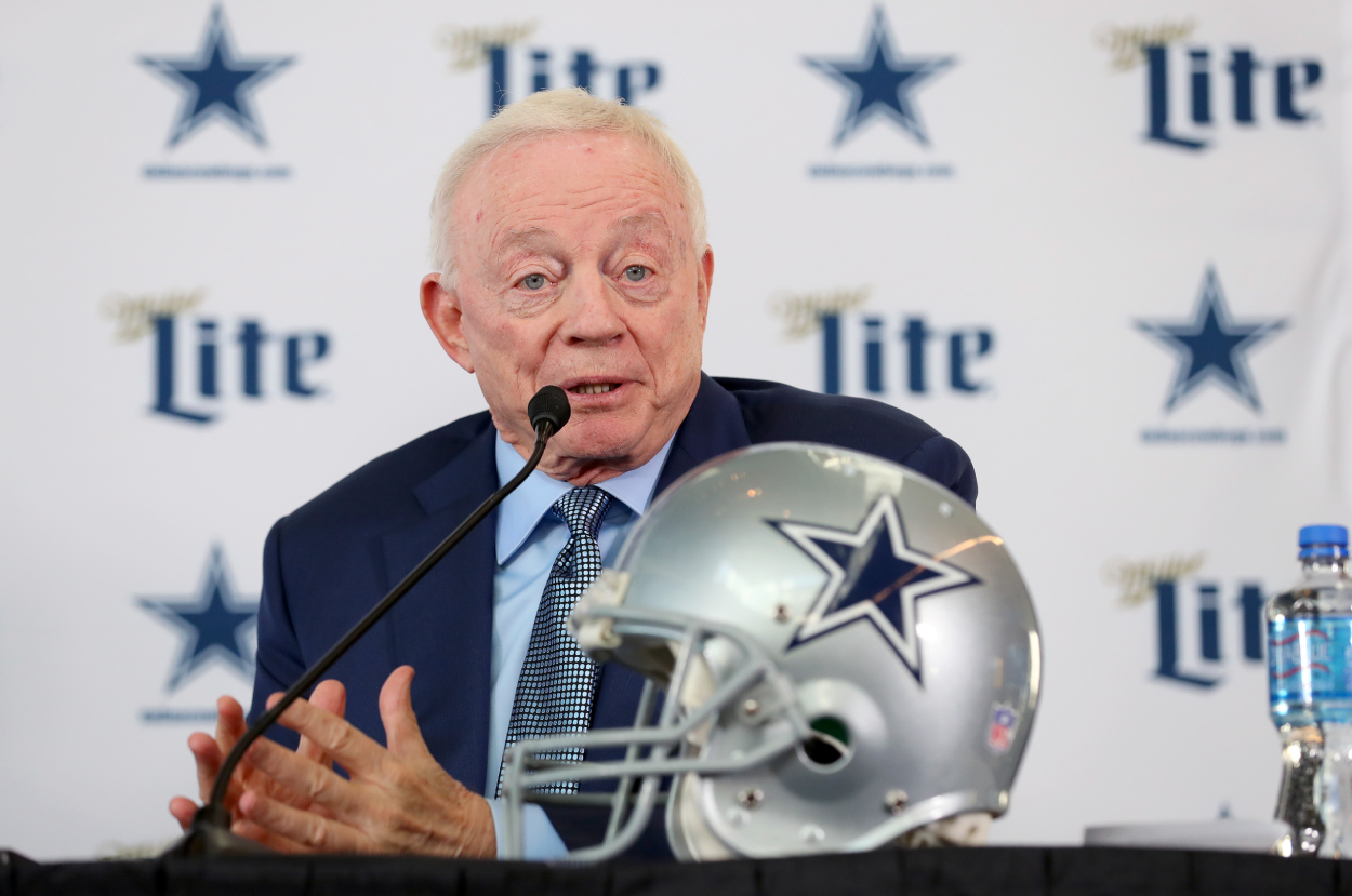 Cowboys team owner Jerry Jones, who paid linebacker Jaylon Smith $13.1 million in 2020, during a press conference.