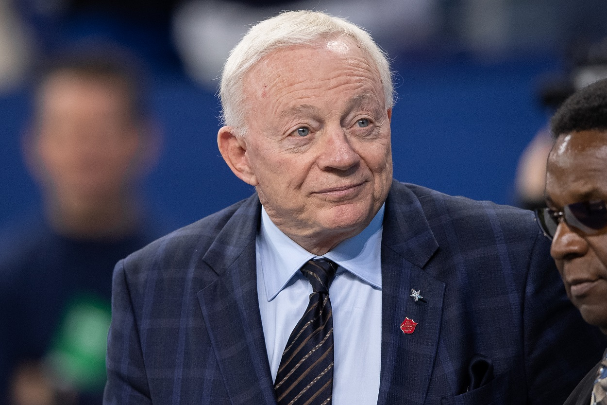 Jerry Jones on the field before an NFL game