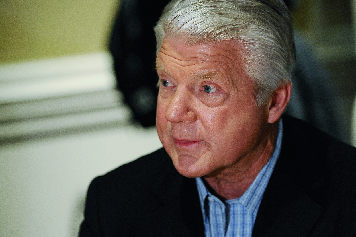 Former Dallas Cowboys head coach Jimmy Johnson fields questions from the media.