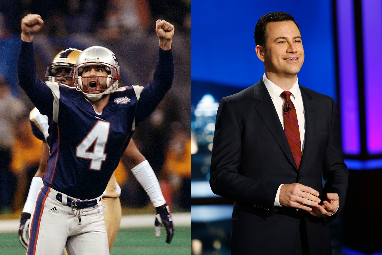 Jimmy Kimmel (right) pictured alongside Adam Vinatieri (left), who booted the game-winning field goal.