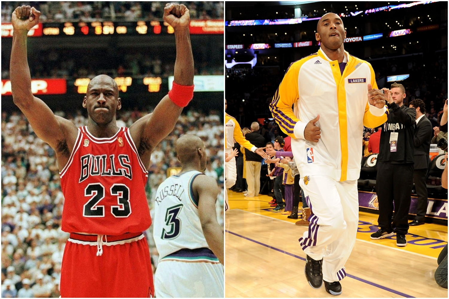 Michael Jordan raises both arms in the air after winning a game with the Chicago Bulls as Kobe Bryant jogs onto the court during a 2013 game with the Lakers.
