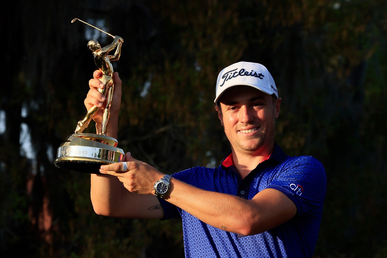 Justin Thomas celebrates after winning the 2021 edition of The Players Championship