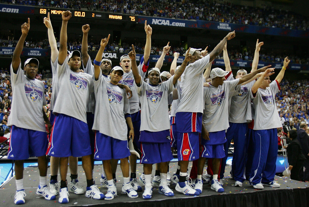The Kansas Jayhawks men's basketball team celebrates a national championship victory in April 2008.