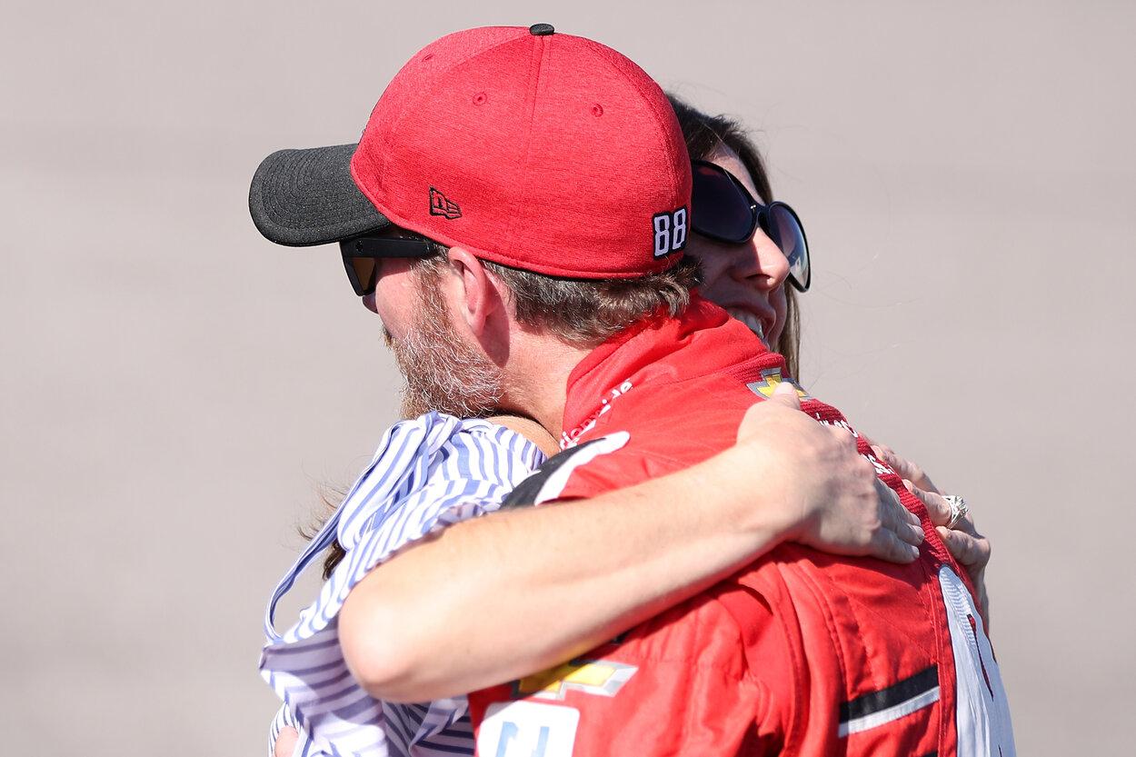 Kelley Earnhardt and Dale Earnhardt Jr. embrace in 2017.