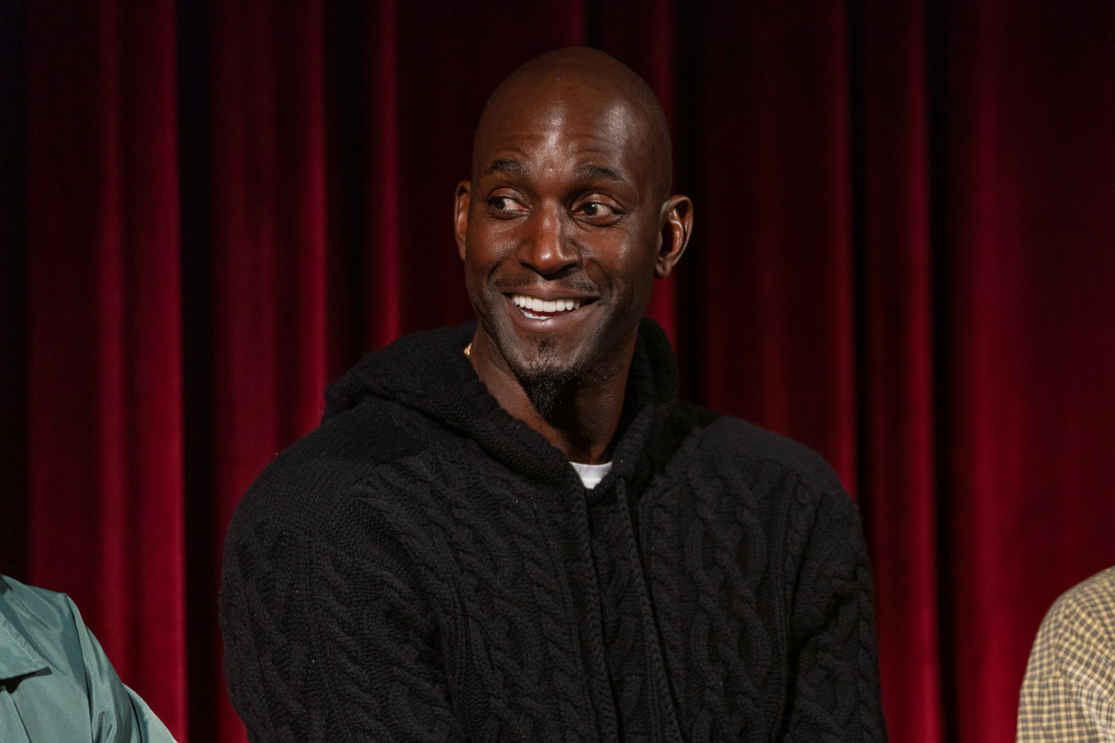 Kevin Garnett speaks while attending a viewing party for a movie