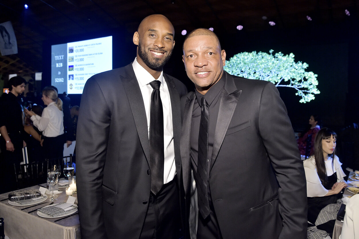 Los Angeles Lakers legend Kobe Bryant (L) and Doc Rivers in 2019.