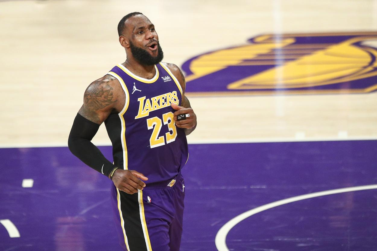 Lakers star LeBron James celebrates against the Memphis Grizzlies.