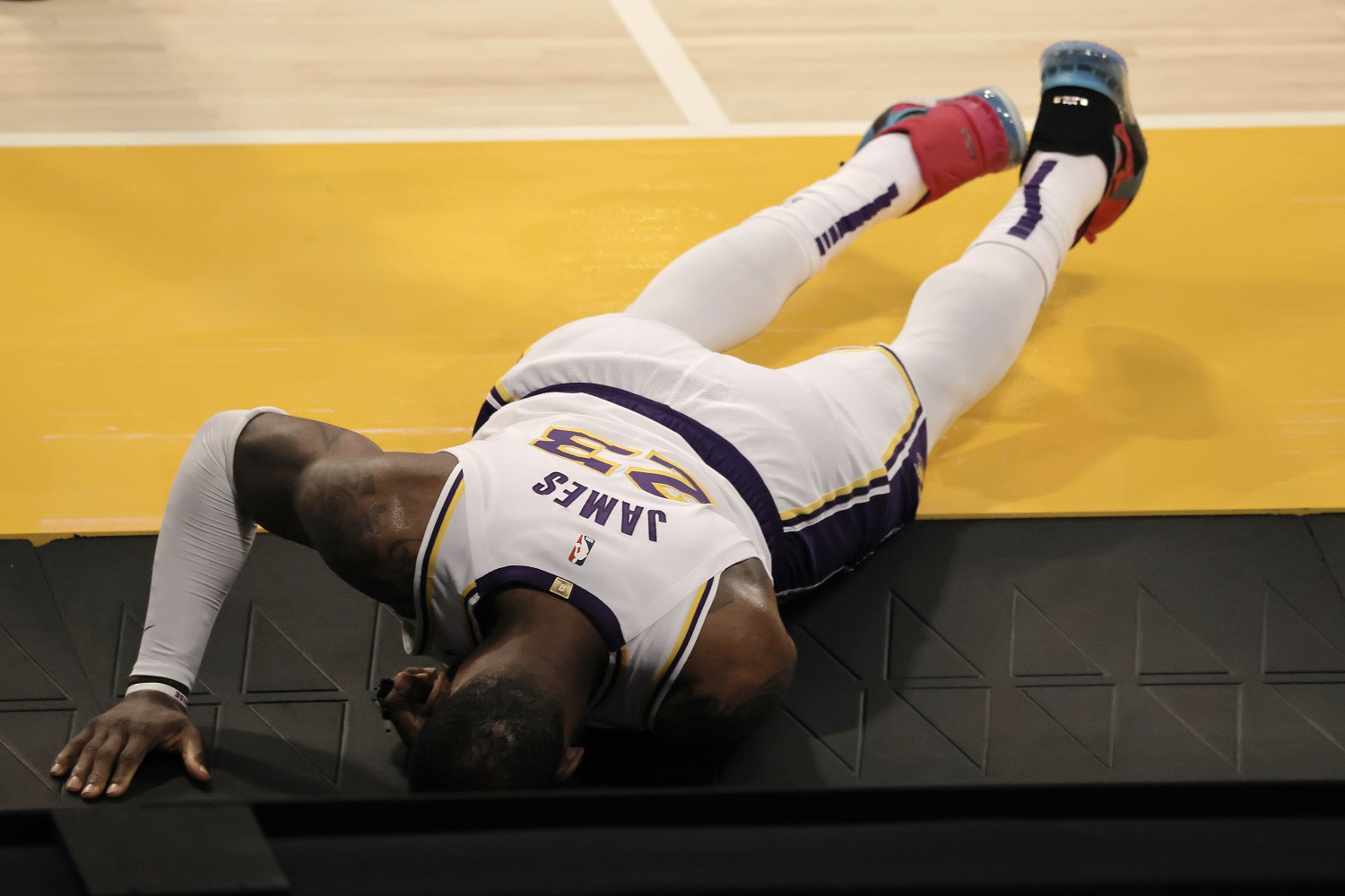 LeBron James suffered a high ankle sprain during a loose-ball scramble against the Atlanta Hawks
