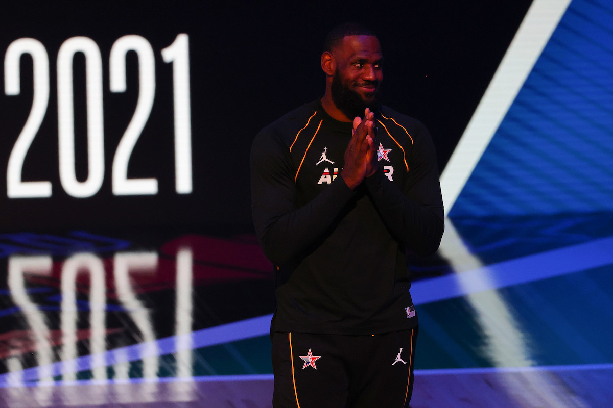 LeBron James of the NBA is introduced at the NBA All-Star Game