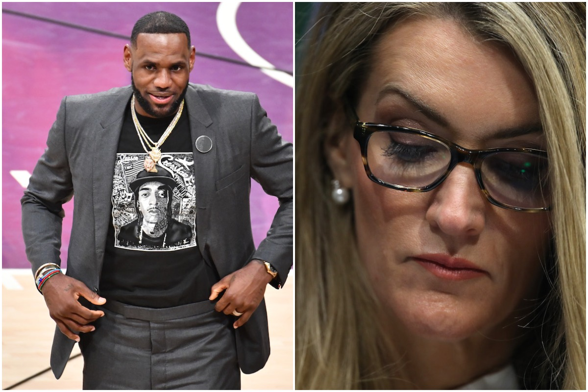 NBA player LeBron James (left) and politician Kelly Loeffler (right)