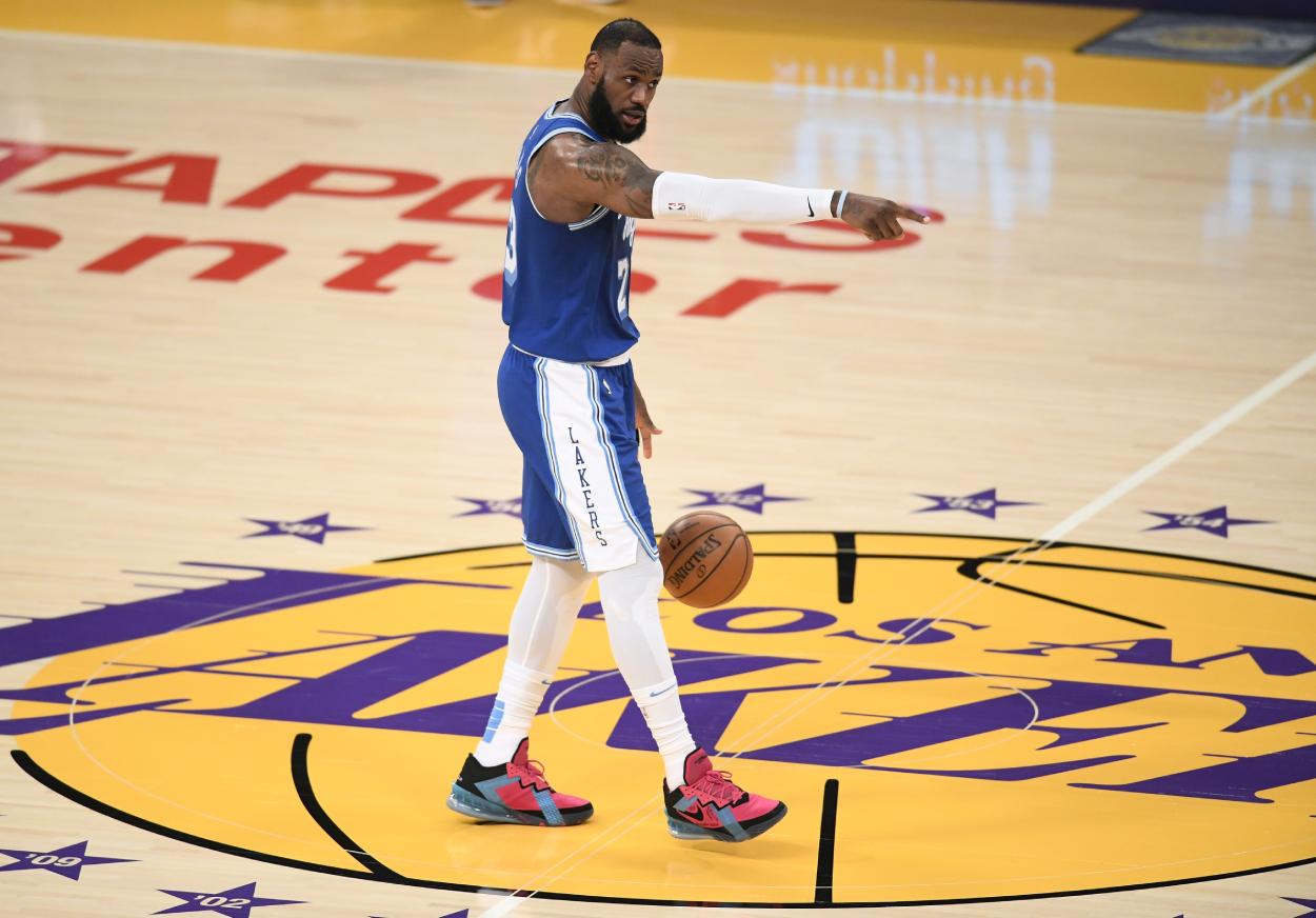 LeBron James of the LA Lakers against the Minnesota Timberwolves.