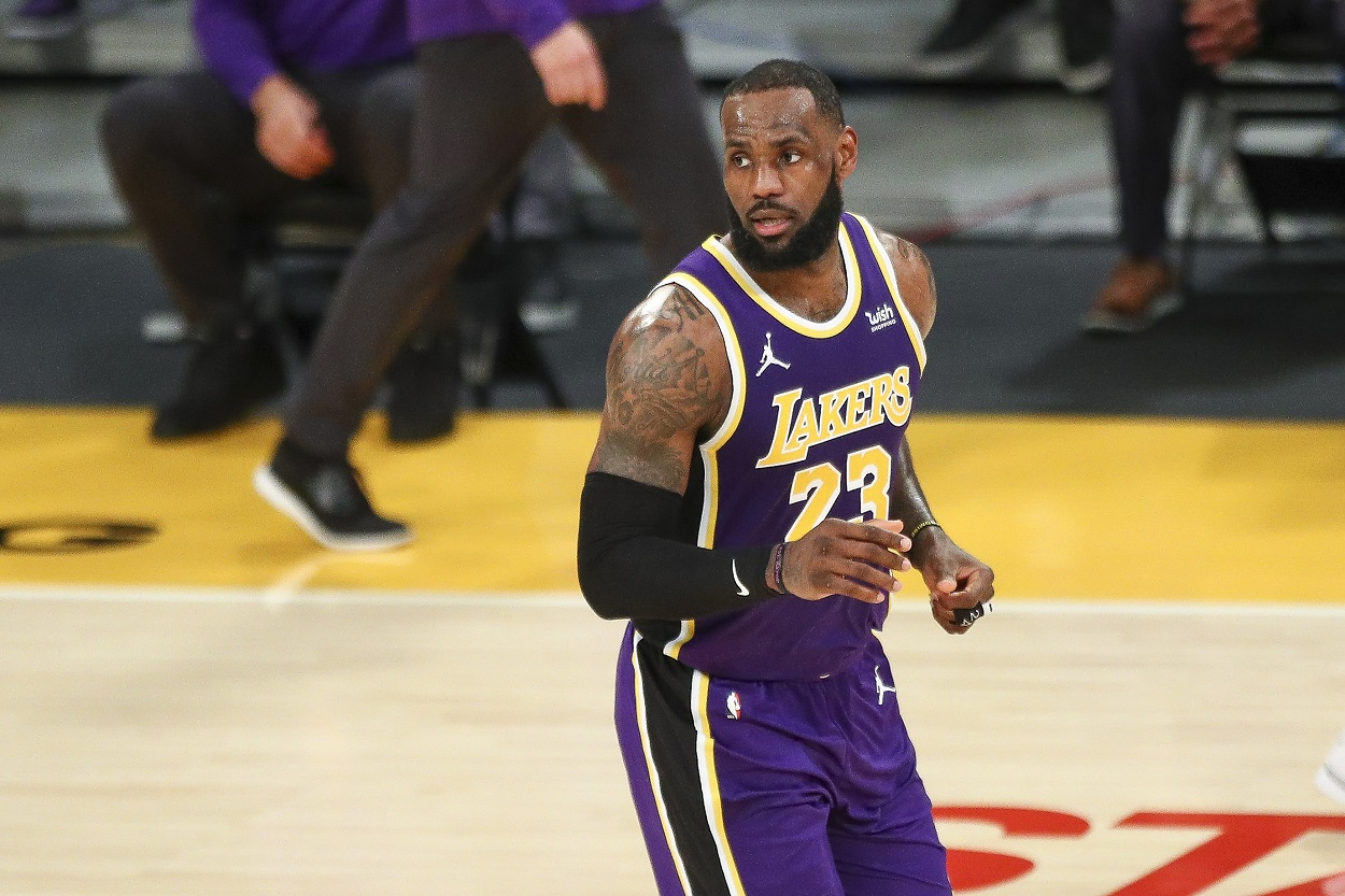 Lakers forward LeBron James reacts to a play during a game an NBA game.