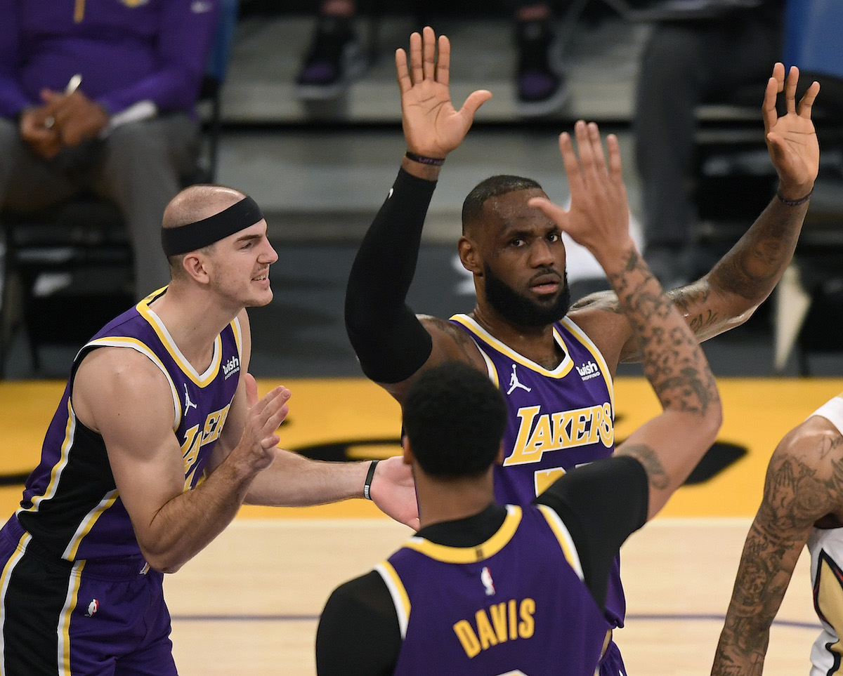 Los Angels Lakers star LeBron James celebrates with Anthony Davis