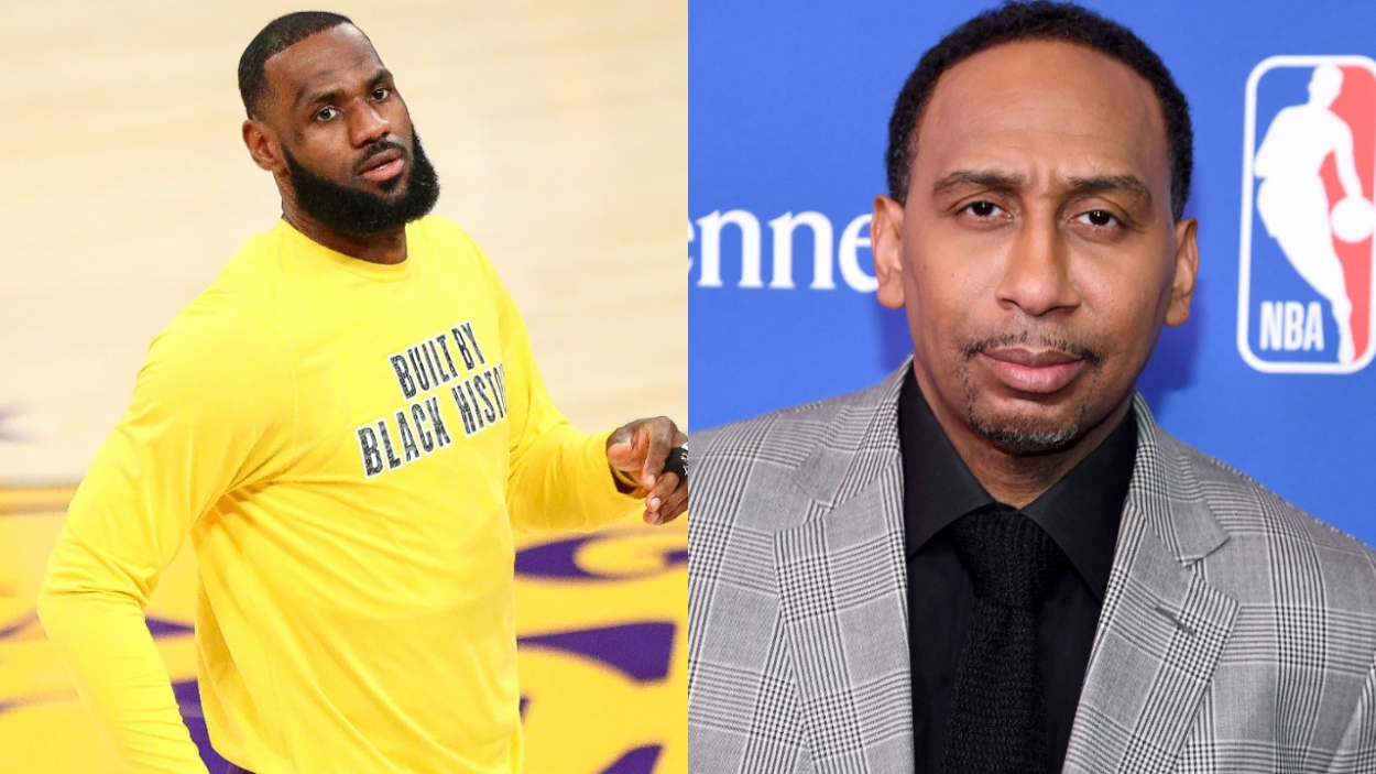 Lakers star LeBron James, who recently responded to comments made by Zlatan Ibrahimovic, next to ESPN's Stephen A. Smith.