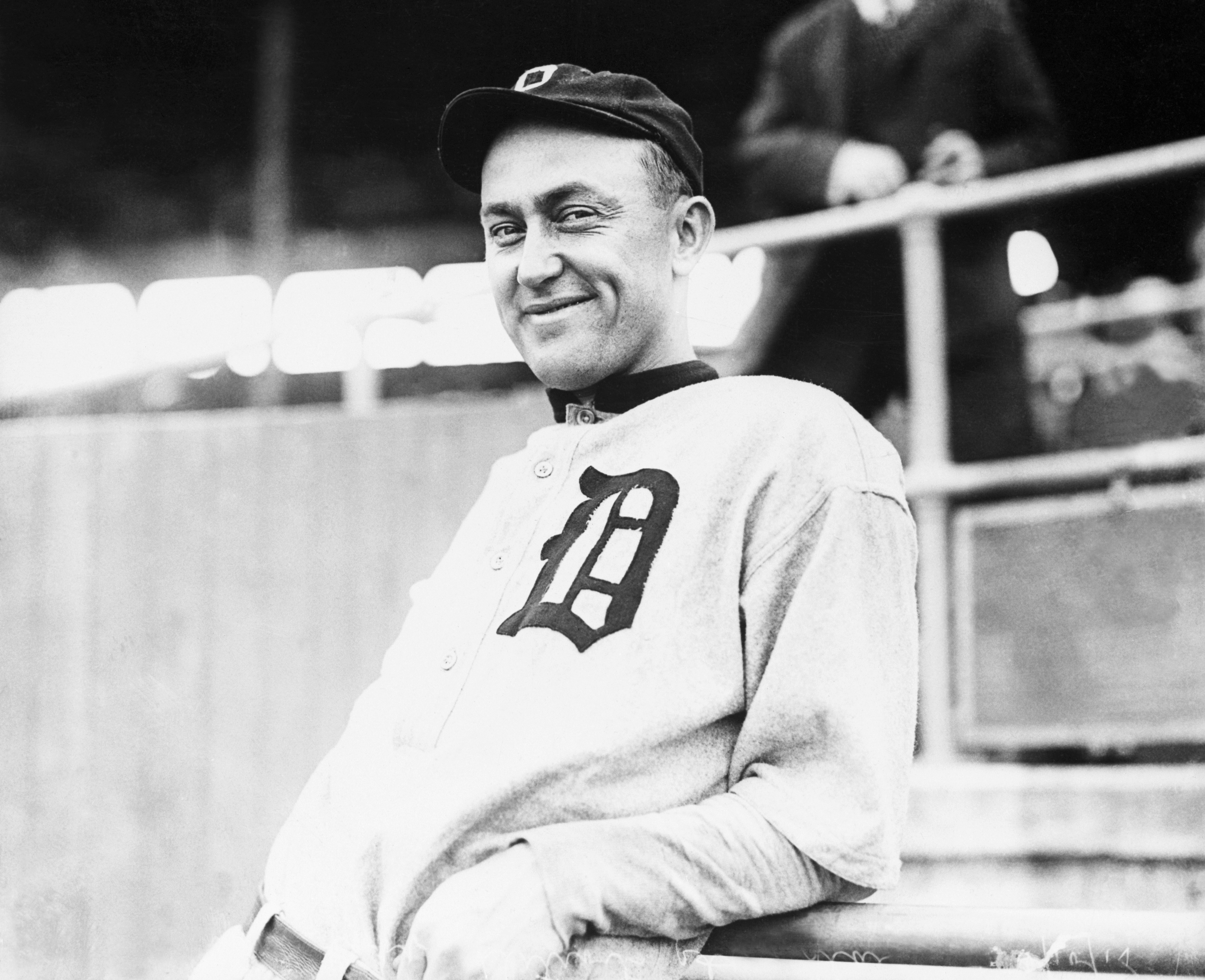 MLB player Ty Cobb smiles for a picture