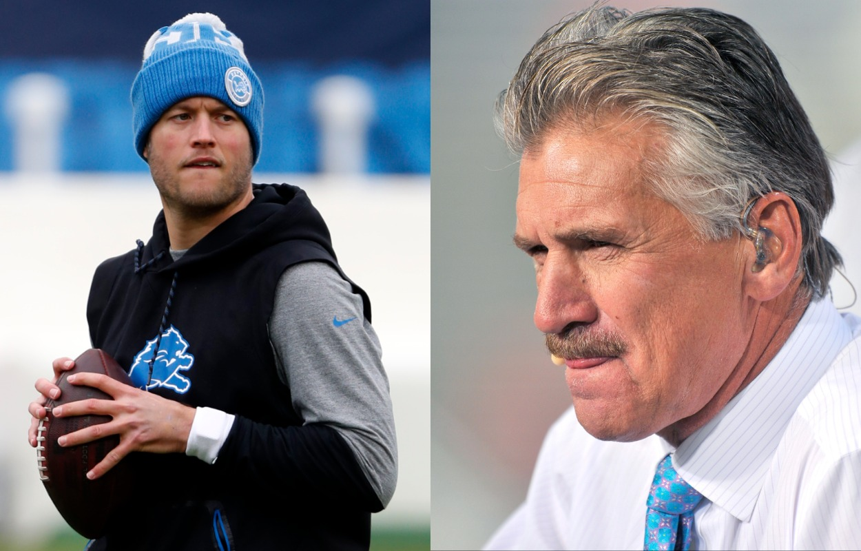 Former Detroit Lions quarterback Matthew Stafford (L) and NFL had coach Dave Wannstedt.