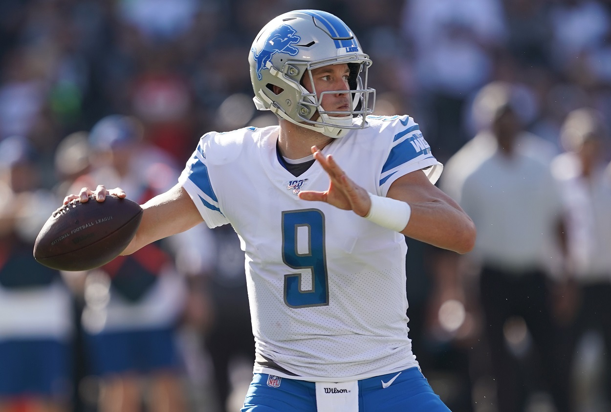 Matthew Stafford attempts a pass during a game.