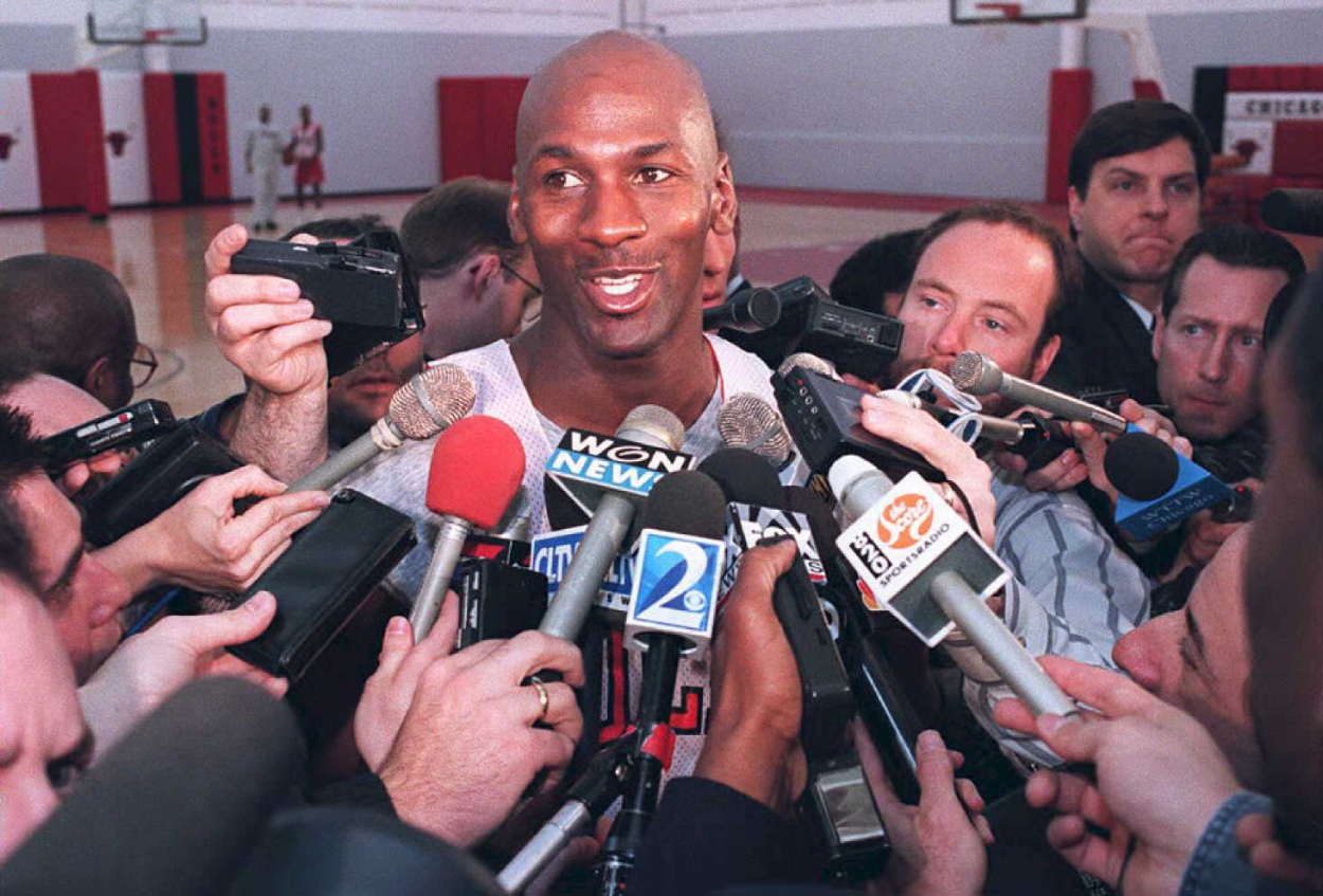 NBA legend Michael Jordan speaking to the media after returning from his baseball stint.
