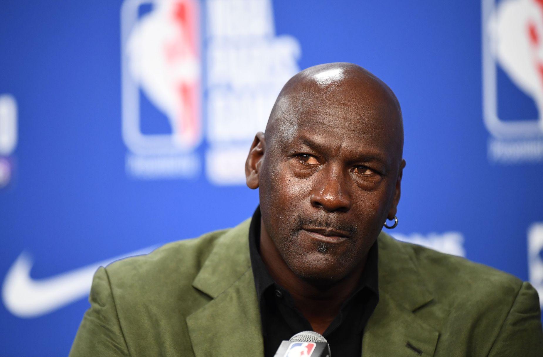 NBA legend Michael Jordan during a press conference.