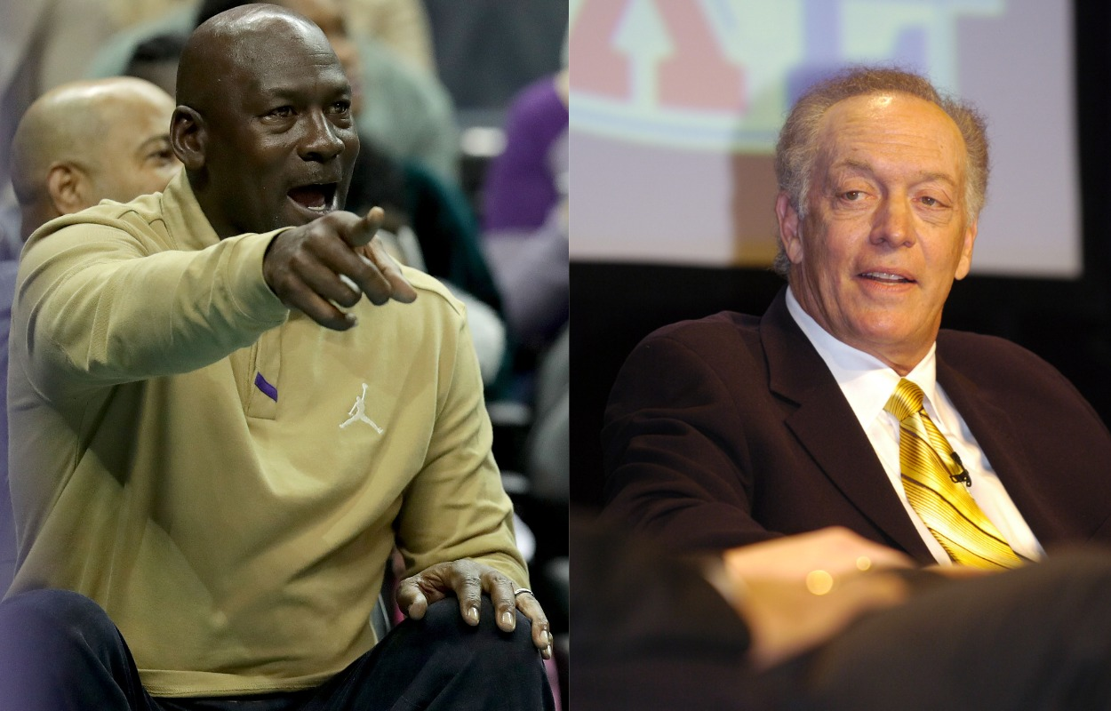 NBA legend Michael Jordan (L) and longtime NFL announcer Dick Stockton