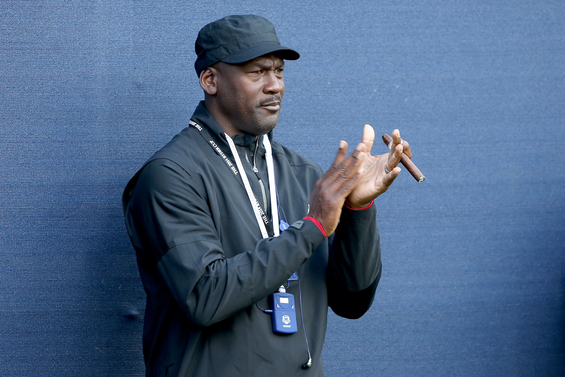 NBA legend Michael Jordan claps during the 2014 Ryder Cup in Scotland.