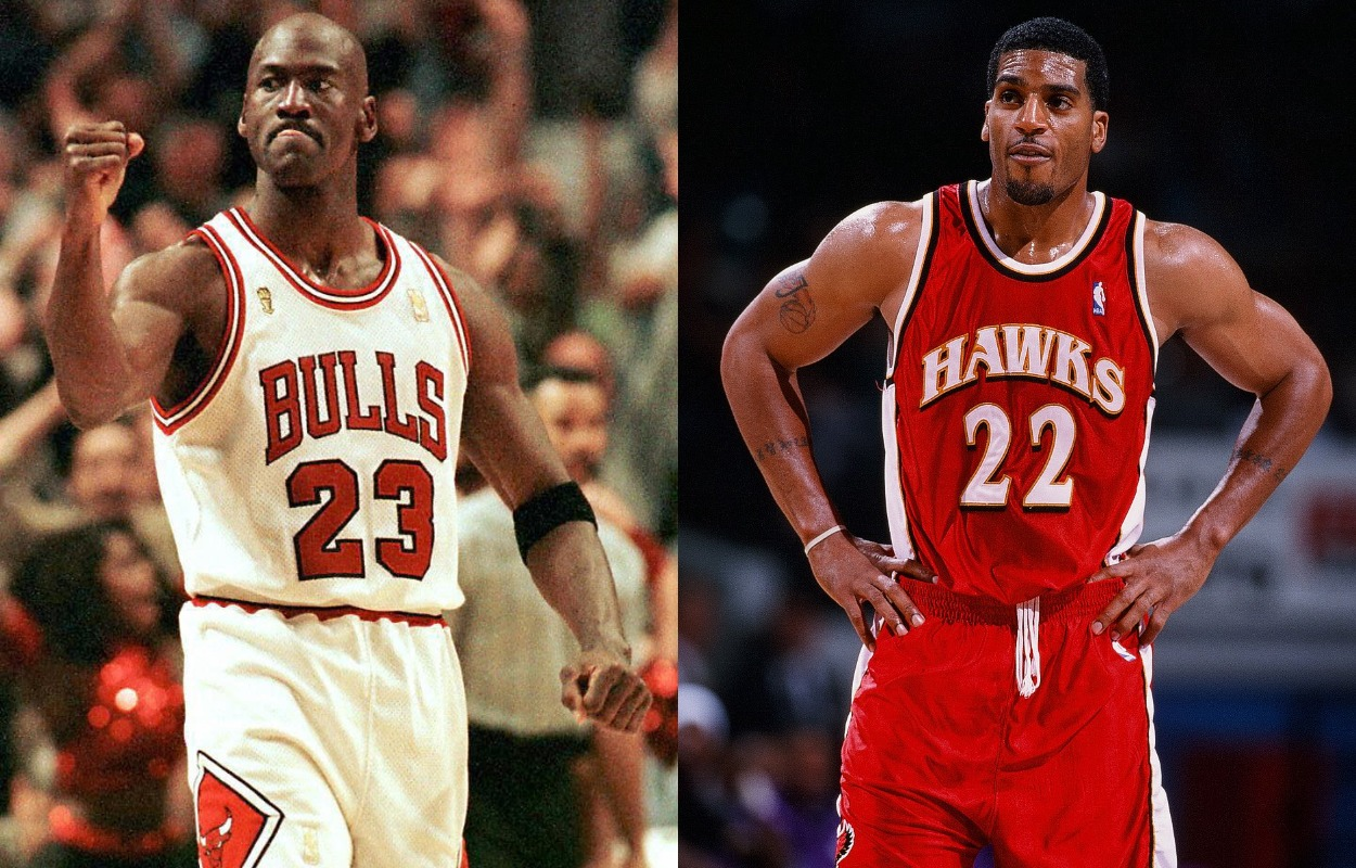 Michael Jordan (L) and Jim Jackson.