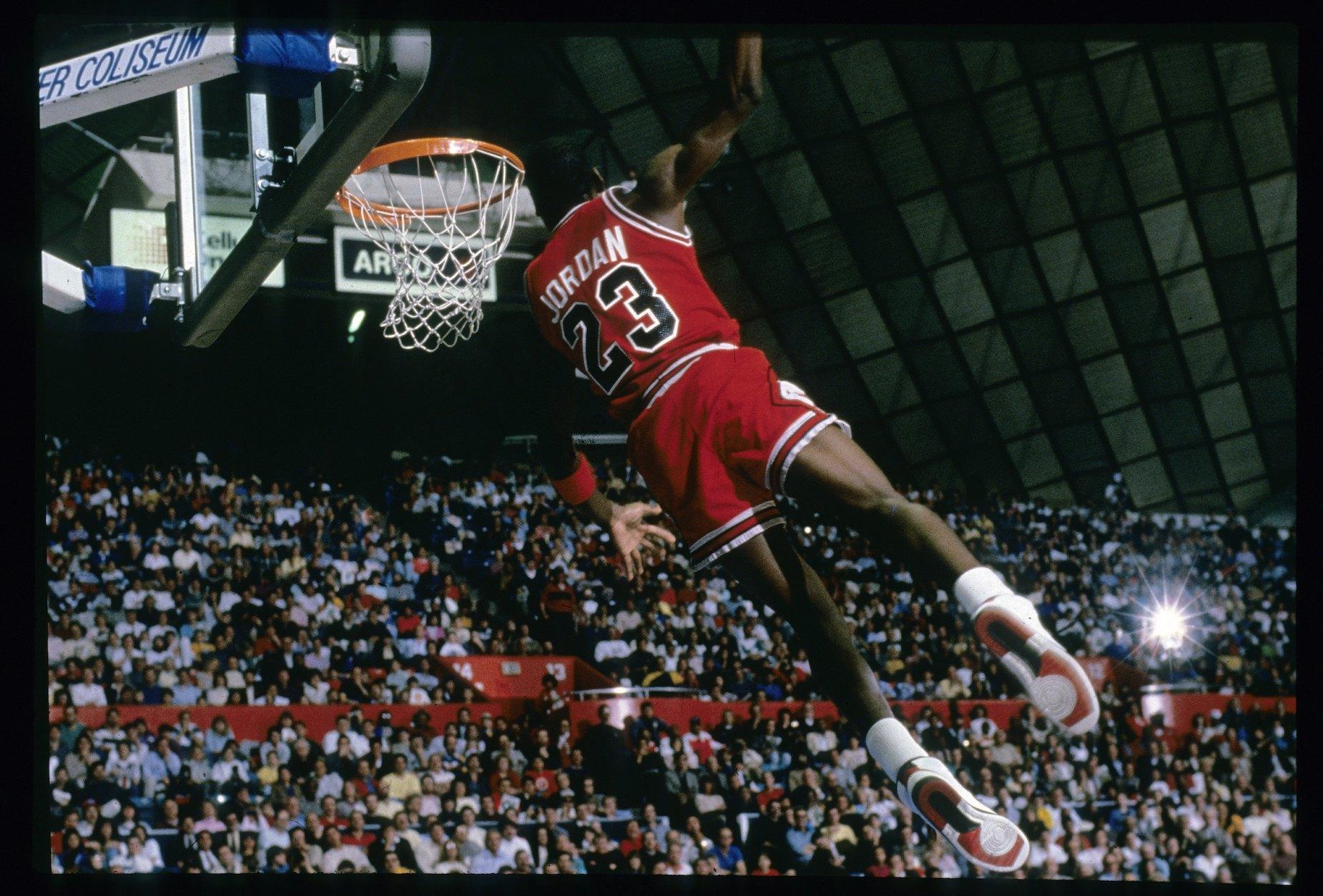 Michael Jordan, whose greatness earned him plenty of nicknames, dunks for the Chicago Bulls.