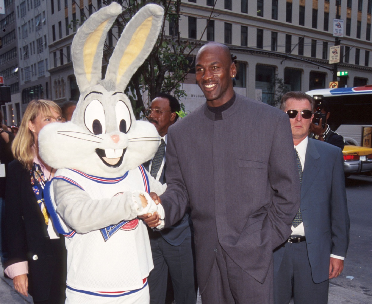 Michael Jordan shakes hands with Bugs Bunny in 1996, the year 'Space Jam' was released