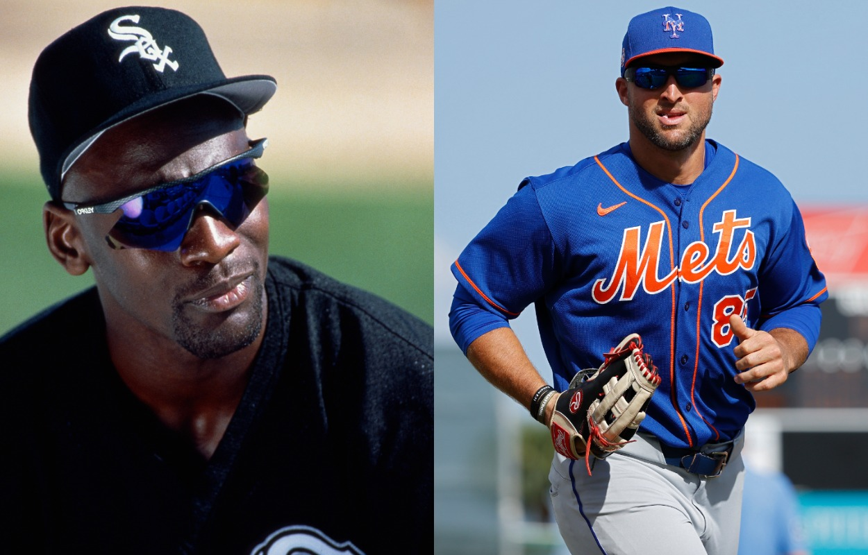 Michael Jordan (L) with the Chicago White Sox, and Tim Tebow with the New York Mets.