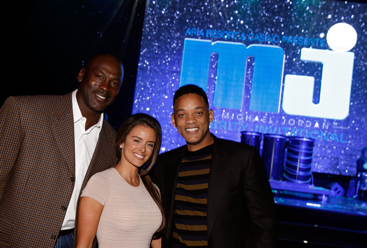 Basketball legend Michael Jordan, his wife Yvette Prieto, and actor Will Smith.