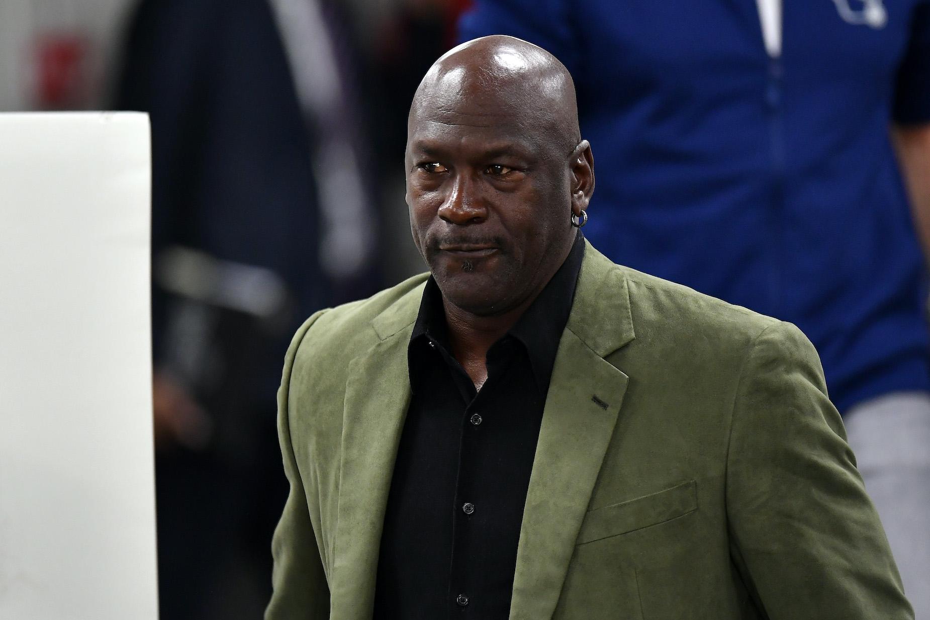 NBA legend Michael Jordan attends a press conference