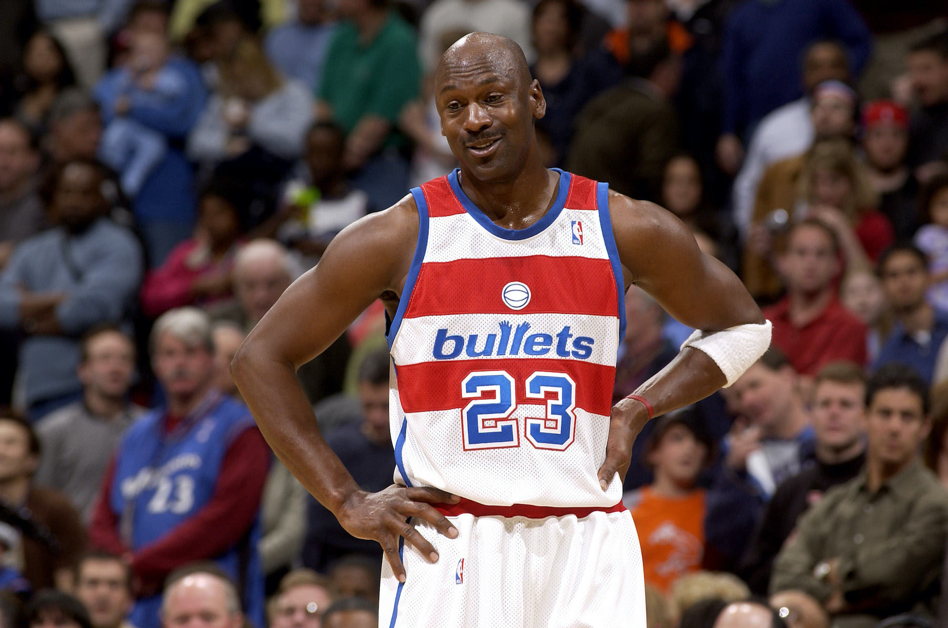 Michael Jordan, who donated all of his 2001-02 salary, in action for the Washington Wizards
