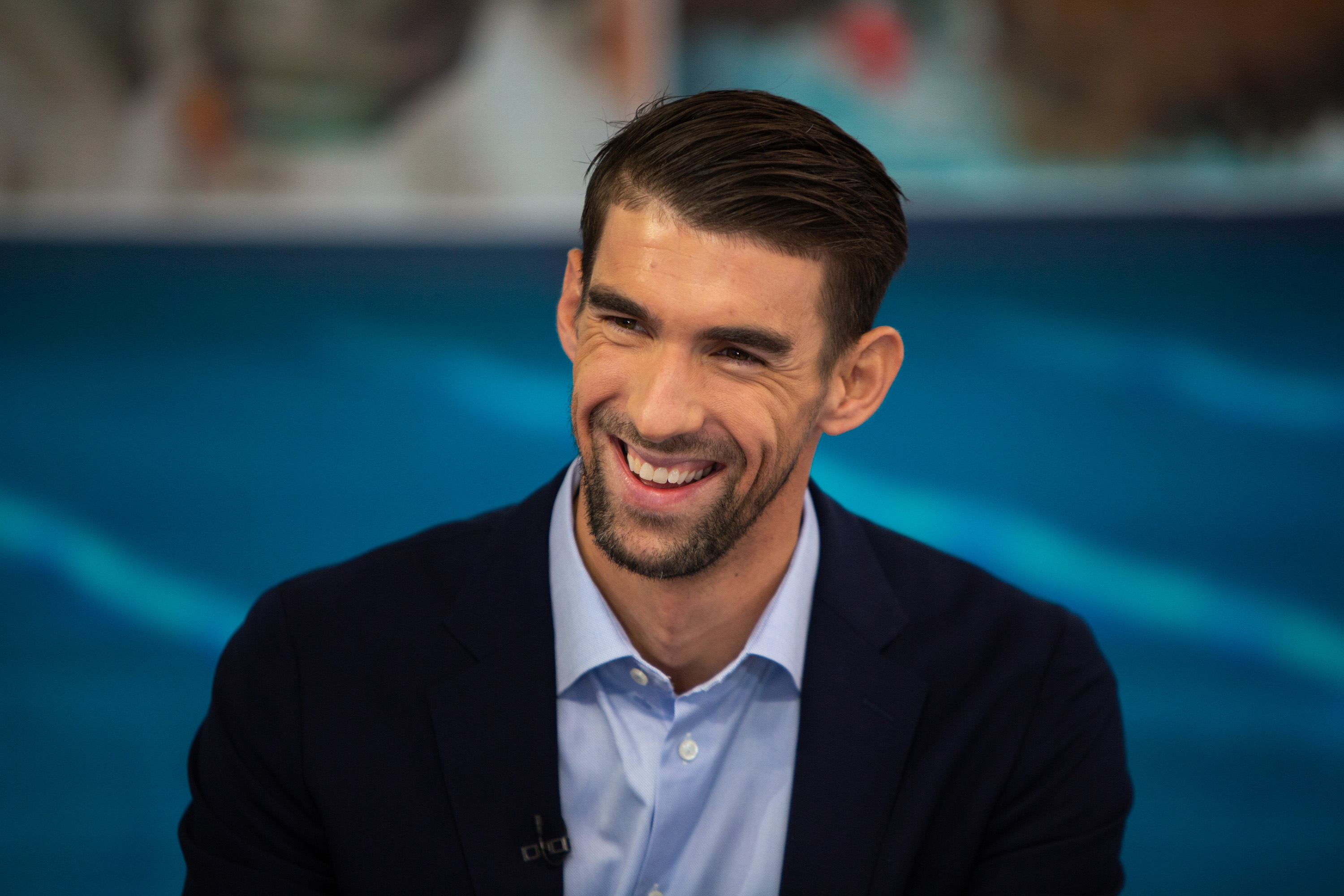 A retired Michael Phelps on a talk show