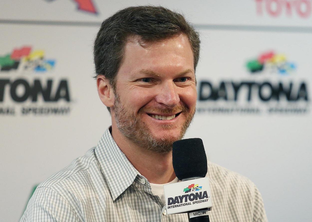 Dale Earnhardt Jr. speaks to NASCAR media before a race.