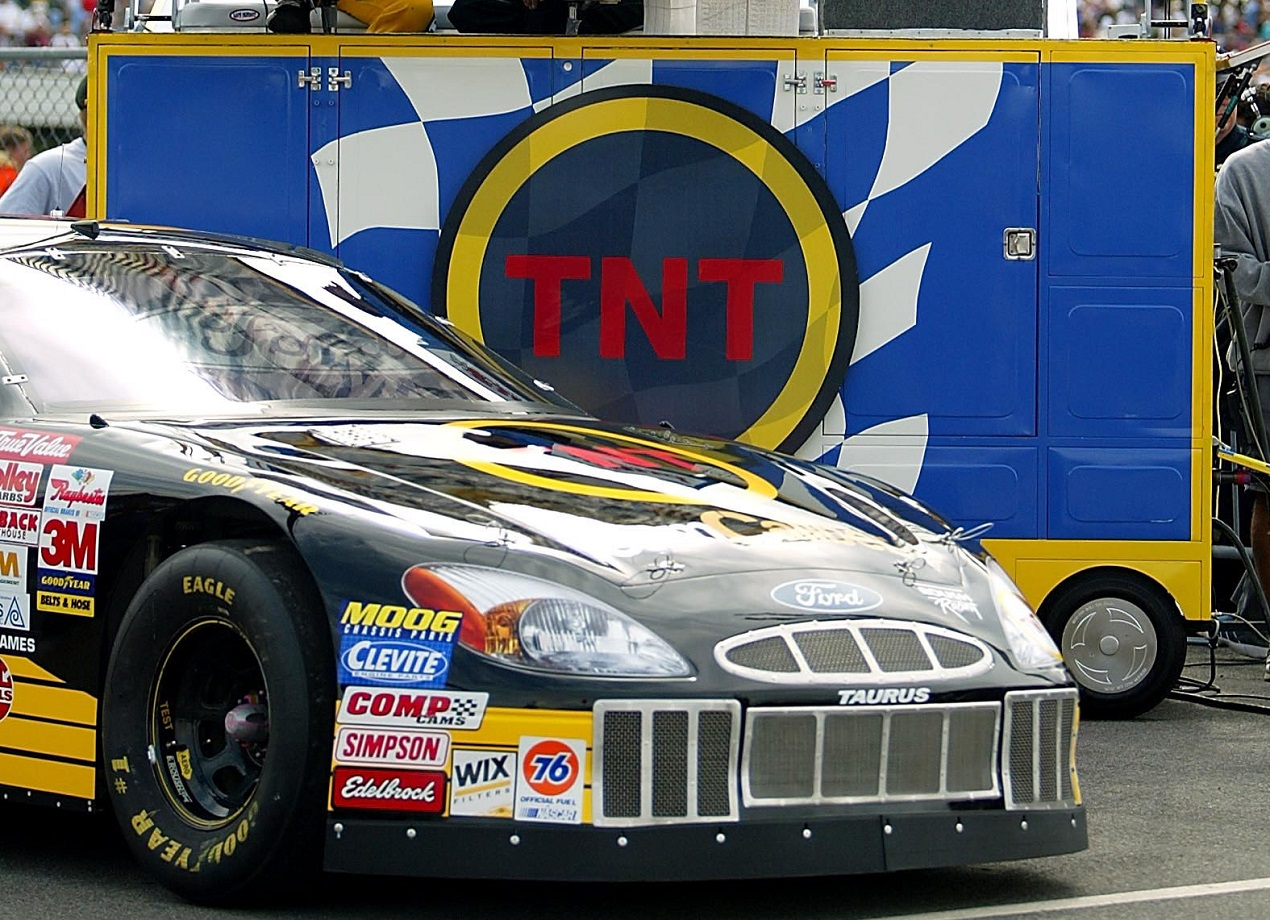 The NASCAR on TNT studios set up for a 2002 race at Pocono Raceway.