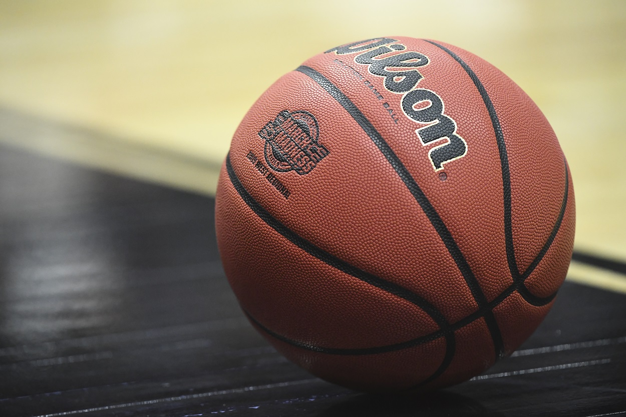 March Madness logo on a Wilson basketball at the 2019 NCAA Tournament