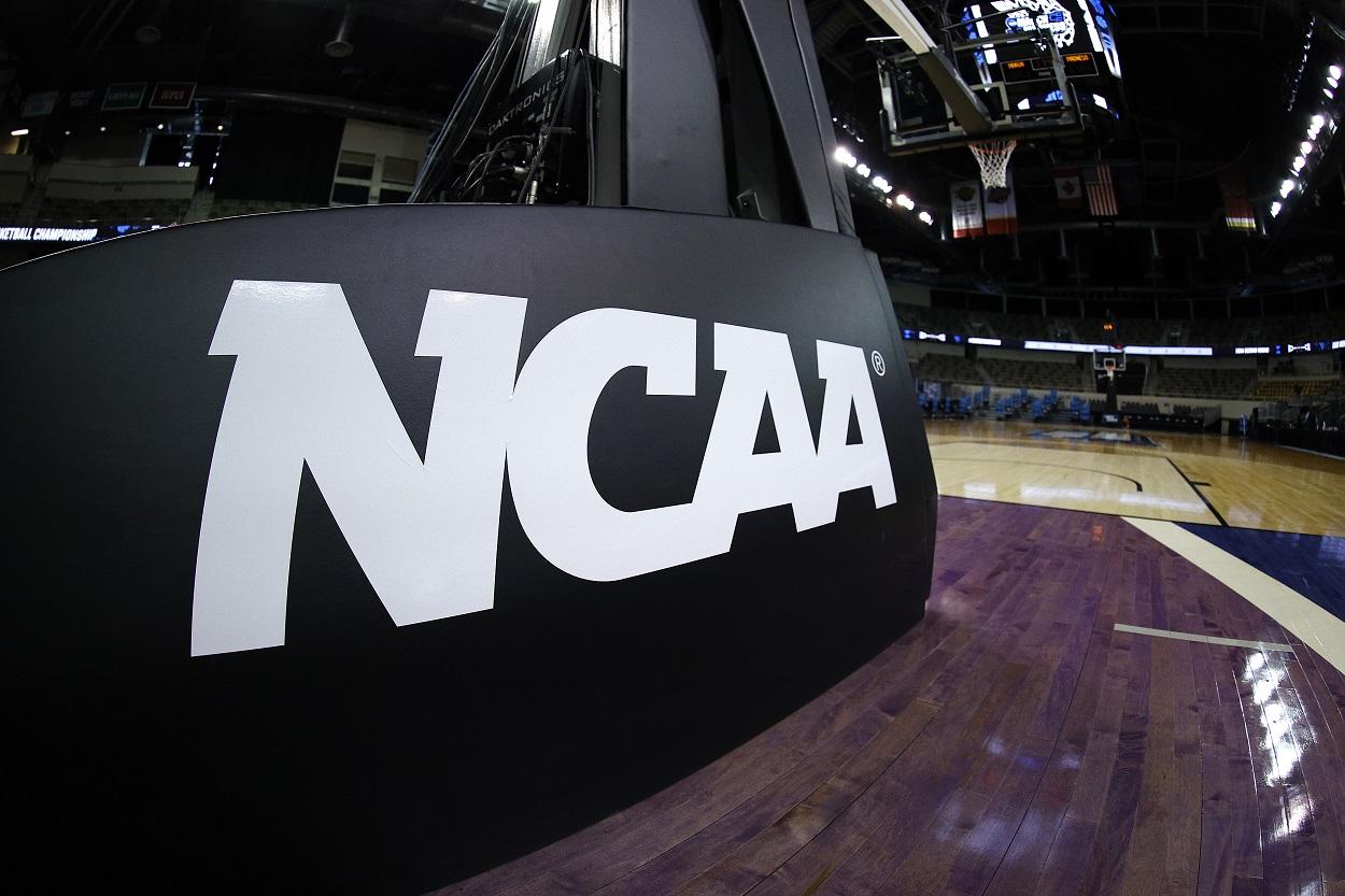 The NCAA logo at the 2021 NCAA Tournament