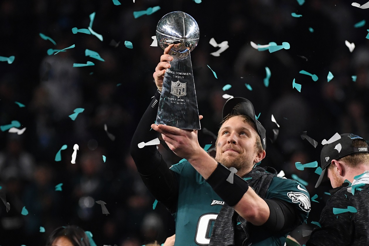 QB Nick Foles celebrates his Super Bowl win with the Eagles