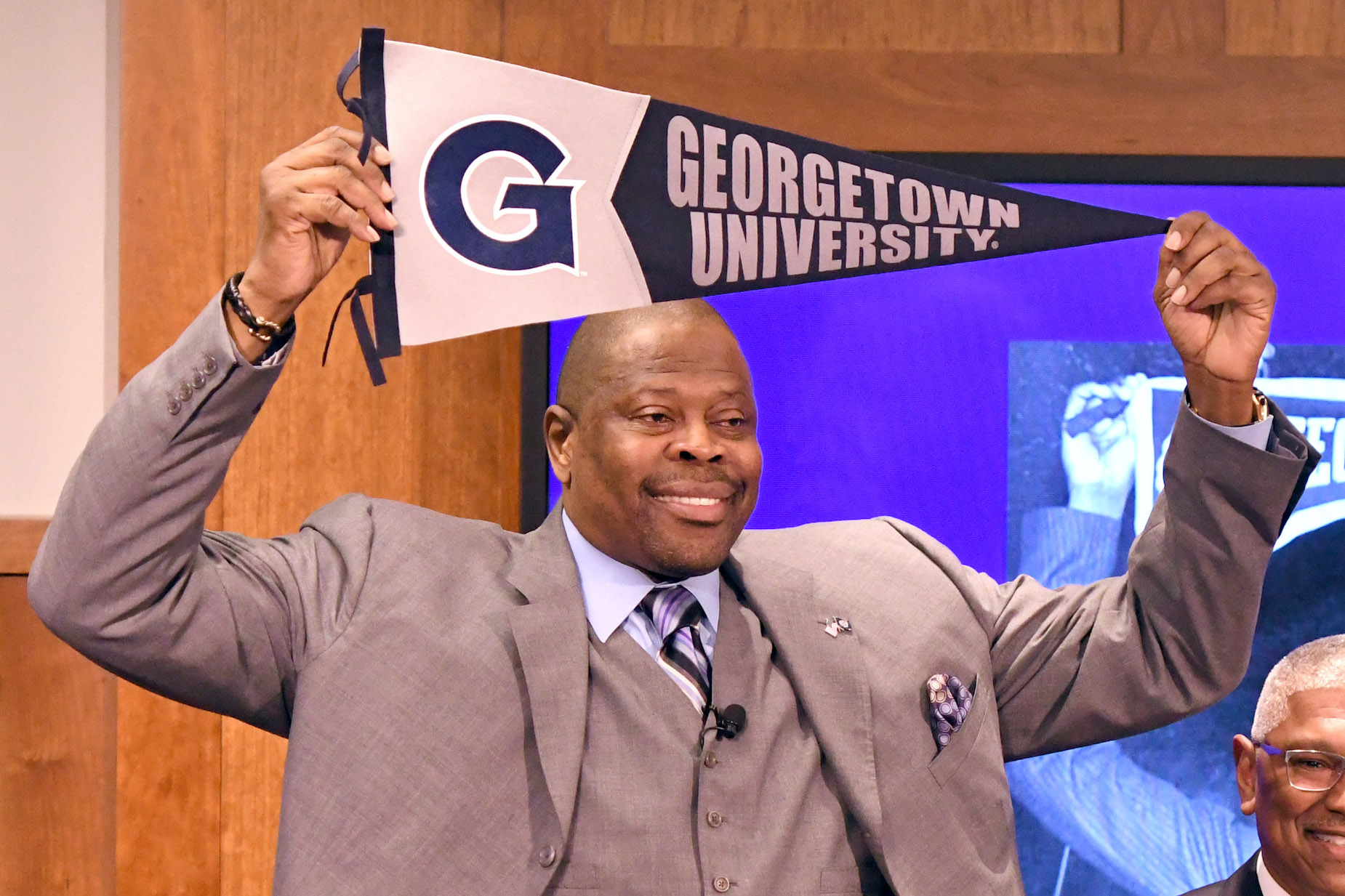Patrick Ewing is introduced as the Georgetown University head coach.