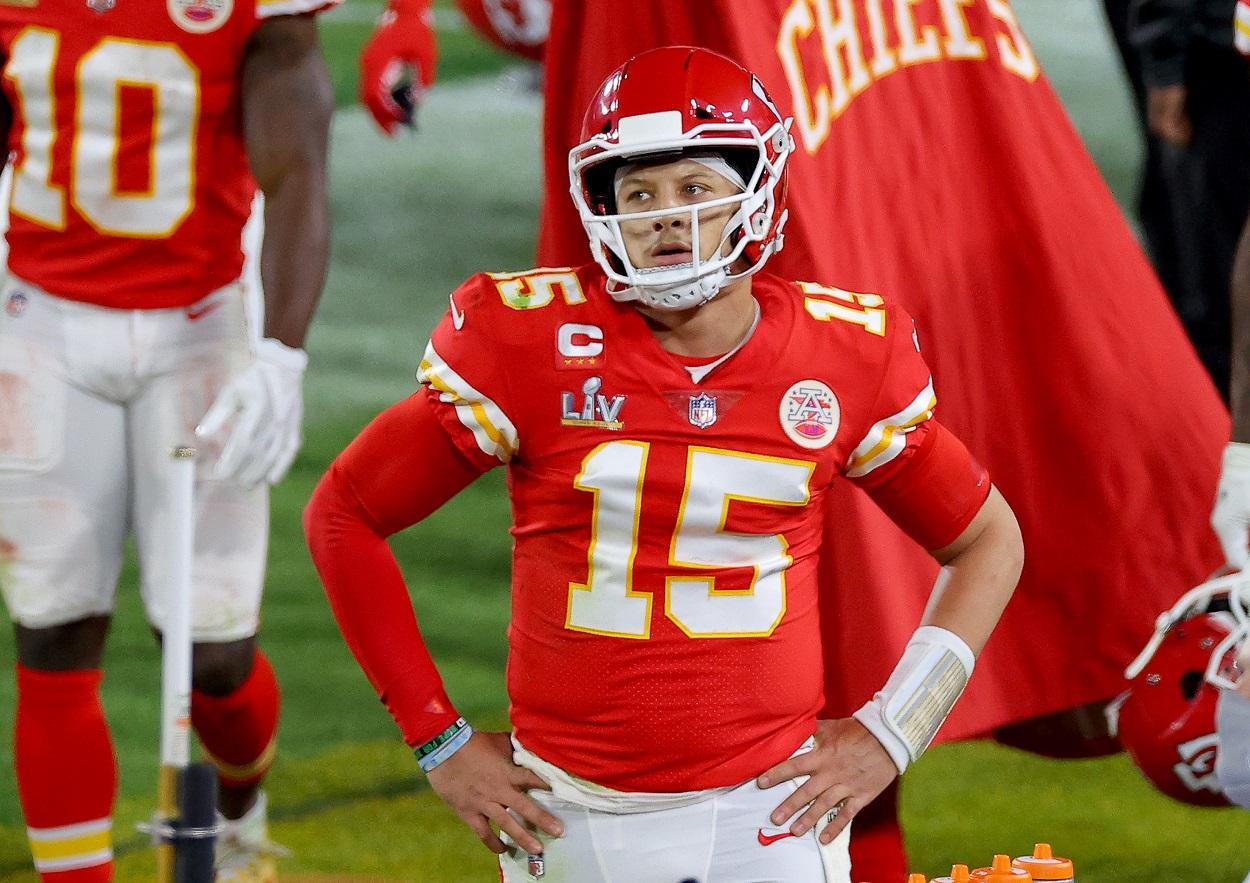 Kansas City Chiefs quarterback Patrick Mahomes reacts to a play during Super Bowl 55.